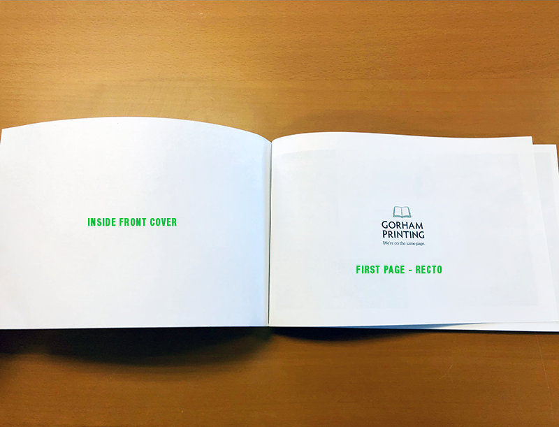 book printing first page recto verso